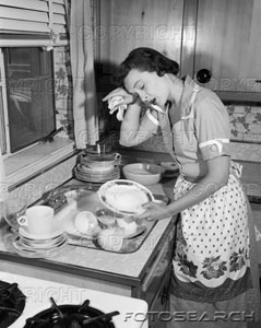 1950s-tired-exhausted-woman-housewife-sink-full-of-dirty-dishes-~-h2867