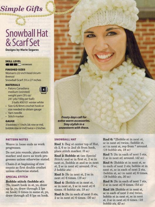 Snowball Hat and Scarf Set Pg 1-001