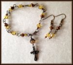 Lovely Brass Wire Wrapped Unbreakable Yellow and Brown Swarovski Rosary Bracelet Set.Take Your Rosary Wherever You Go!  https://www.etsy.com/listing/190991651/lovely-brass-wire-wrapped-unbreakable?ref=shop_home_active_6