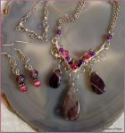 FERN FROND Briolette Necklace Set with Purple Stone Briolettes Accented with Pink and Purple Stones. https://www.etsy.com/listing/197430426/fern-frond-briolette-necklace-set-with?ref=shop_home_active_7