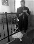 Mike teaching Agnes to pray at Church.