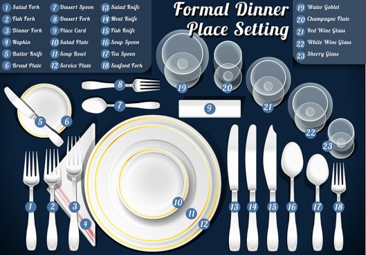 Detailed Illustration of a Set of Place Setting Formal Dinner This illustration is saved in EPS10 with color space in RGB.