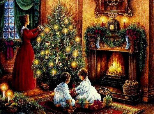 decorations-accessories-victorian-christmas-wallpaper-two-kids-opening-the-presents-in-front-of-file-place-a-mother-sets-the-chrismast-lights-incredible-victorian-christmas-picture-collections-945x702