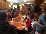 """The other half of the table is used for the important stuff........the favorite right now is the card game """"Spades""""!"""
