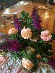 These are drift roses with butterfuly bush blossoms. I love butterfly blossoms!!