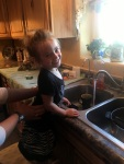 This is Nini, otherwise, but not as commonly, known as Sienna.  She enjoys helping do the dishes!