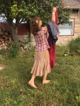 Fall outift...hanging laundry.