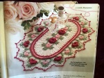"""This is what it will look like. She is using a bigger thread so it will be a lot bigger than a normal doily! She was a little offended when one of our guy friends thought it looked like a very pretty """"rug""""! Sheesh!"""