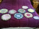 """Virginia made these unique """"quilted"""" doilies for Christmas gifts."""