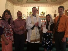 Father Flood, Godparents and parents with Avila Therese, new little saint!